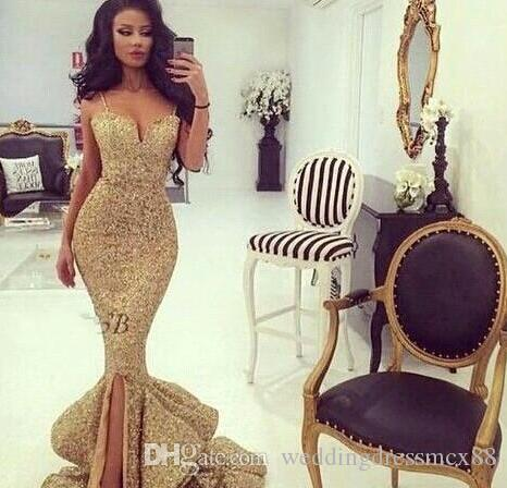 sNew Designer Bling Gold Sequins Mermaid Prom Dresses 2017 Spaghetti Open Back Ruffles Sweep Train Evening Gowns Pageant Dress Formal BA1086