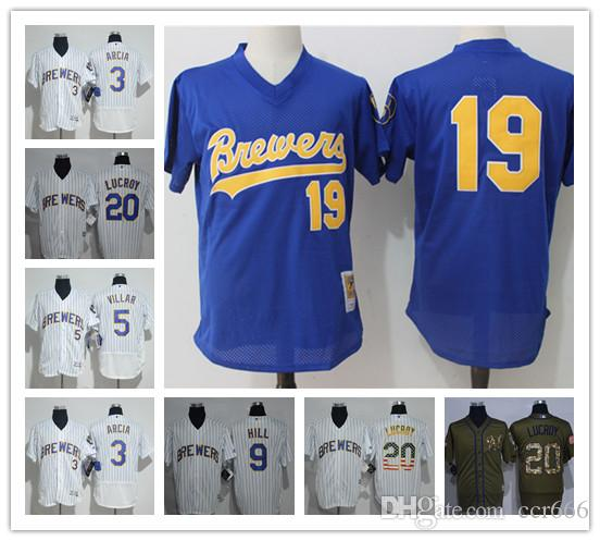 73b6aba08 ... authentic 2018 custom mens women youth majestic milwaukee brewers jersey  20 jonathan lucroy 19 robin yount