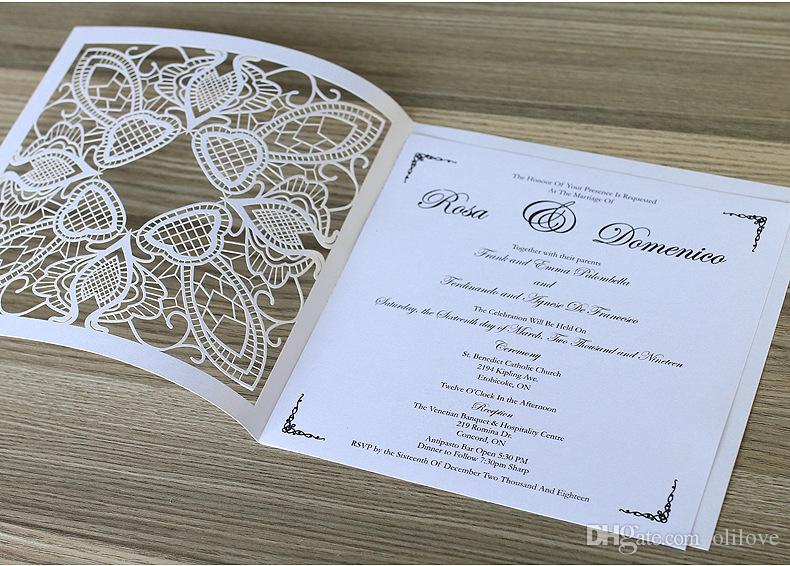 Laser Cutting Hollowed Square Fashion Design Invitation Cards