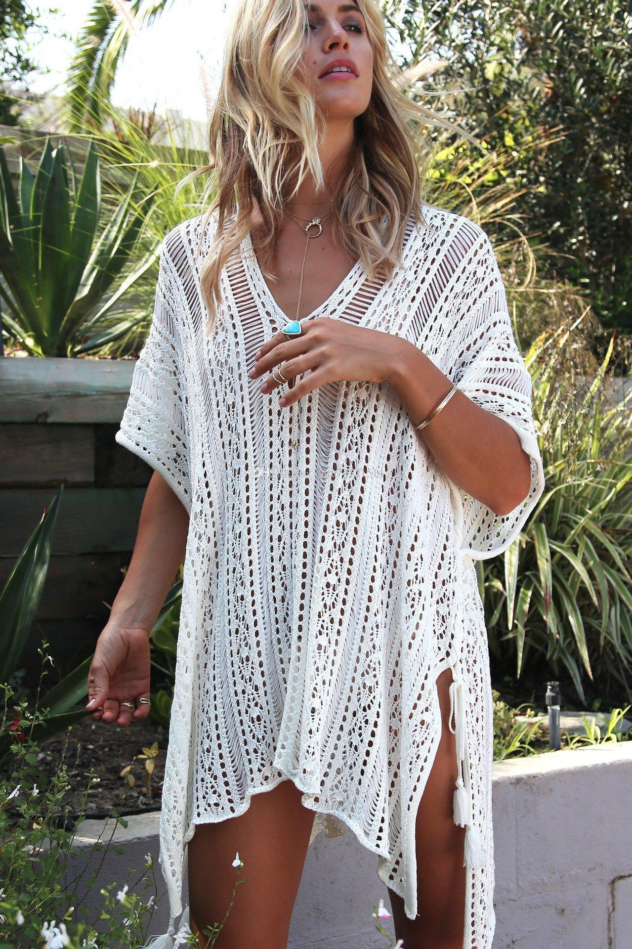 3c3eb7586a2da 2019 2018 New Beach Cover Up Bikini Crochet Knitted Tie Beachwear Summer  Swimsuit Cover Up Sexy Beach Dress From Hutu74521514