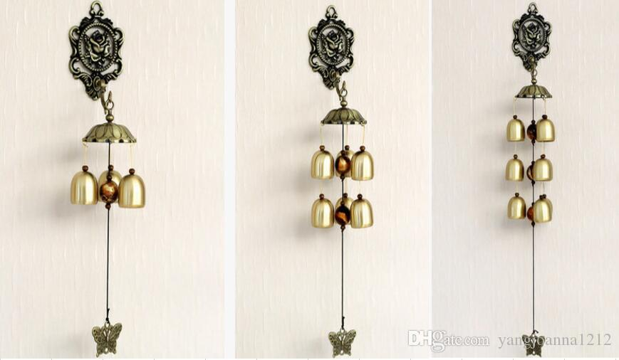 Wholesale Vintage Rose Wind Chimes Supplies With 3/6/9 Copper Bells Garden Outdoor House Room Wall Hanging Decoration Crafts Birthday Gifts