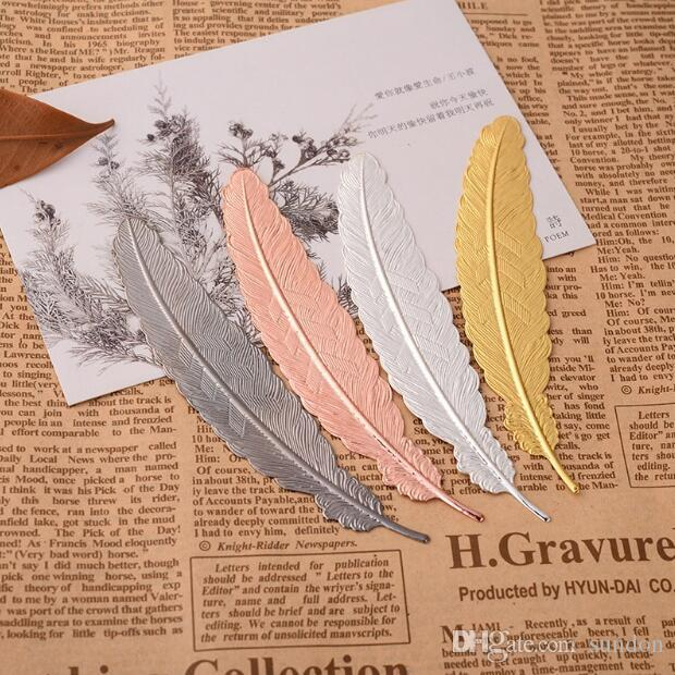2019 Metal Feather Bookmark Document Book Mark Label Golden Silver