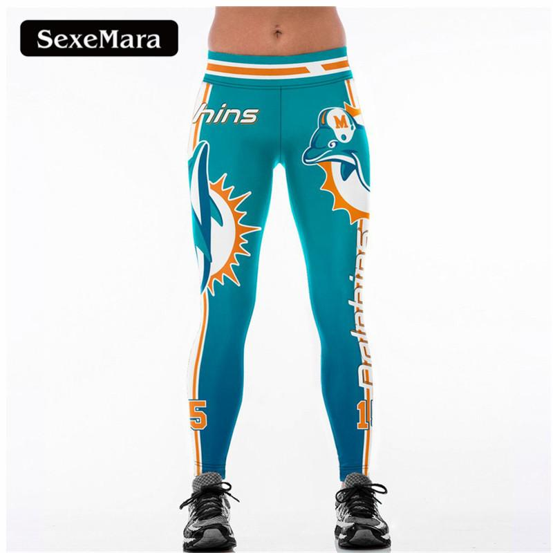 bd4e47fee5 2019 SexeMara MIAMI DOLPHINS 15 3D Print Women Leggings High Waist Legging  Steelers Printed Women Pants Slim Fitness Leggins S18101502 From Jinmei02,  ...