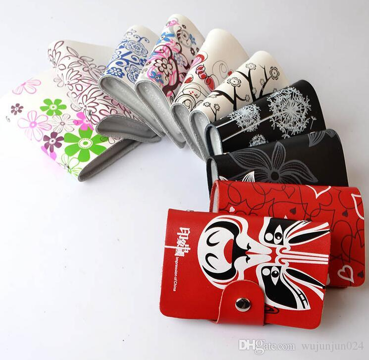 3PCS/lot Genuine Leather Print Women Business Card Holders many designs wallets holders Protector Organizer Card Wallet