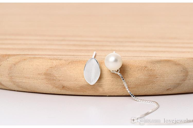 designer jewelry fashion 925 sterling silver stud earrings asymmetric female Simple natural Freshwater Pearl Leaf ear line wholesale china