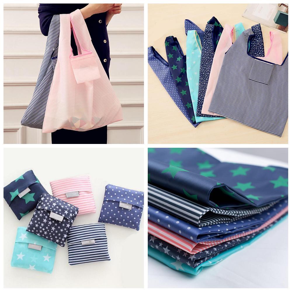 c2794e49175 6styles Foldable Reusable Shopping Bags Eco Storage Grocery Bags Star  Stripe Dot Printed Shopping Tote Handbag 53 35cm FFA761 Handbags On Sale  Jute Bags ...