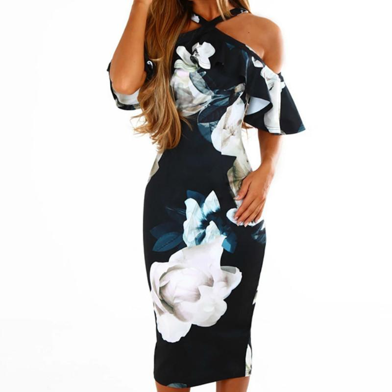 9eb5be8f9d0 Sexy Cold Shoulder Floral Printed Ruffles Sundress Femme Summer Dresses  Front Cross Skinny Flower Print Bodycon Midi Dress GV023 Dresses For White  Party ...