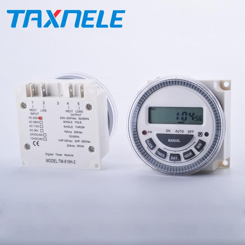 TM619,7 Days timer /24 hour 220v 230v Digital Programmable Time  Switch,electric switch