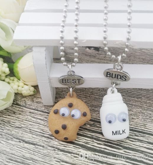 kids jewelry Best Friends BFF pendant bead chain necklace pendants fastfood milk cookie biscuit lead nickel free drop shipping /