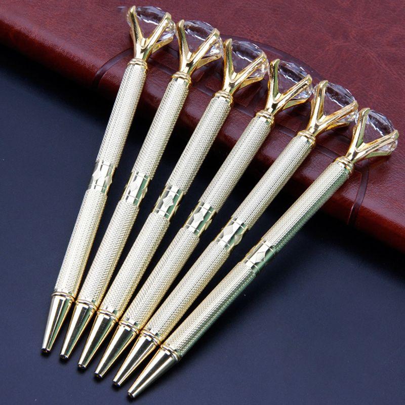 The Latest Version Of The Da Carat Diamond Crystal Pen Gem Ballpoint Pen Wedding Office Supplies Metal Ring Ball Pen