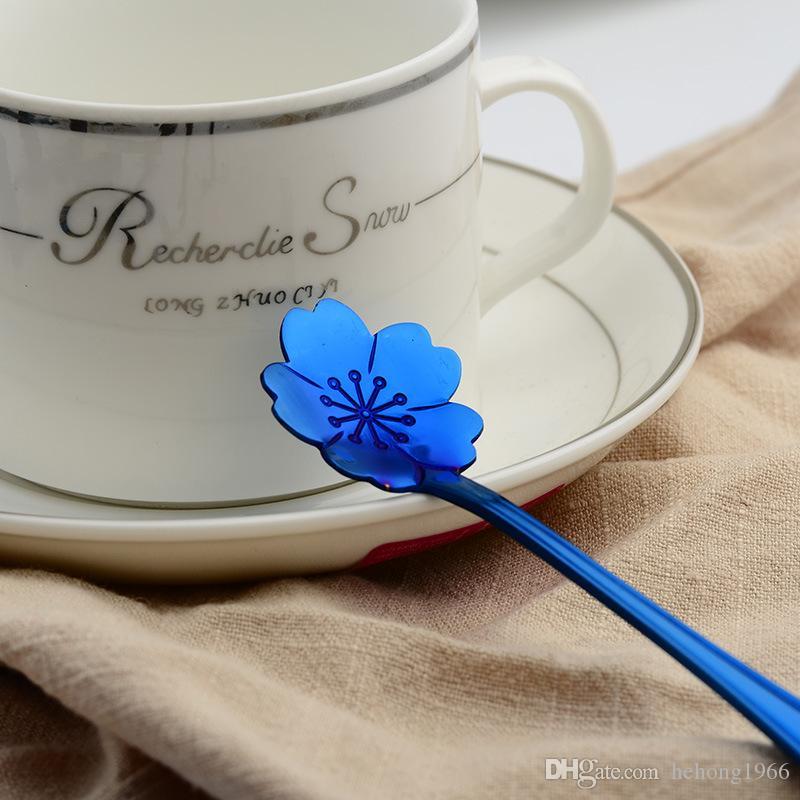 Cuillère à café cuillère en acier inoxydable plaqué or bleu Vaisselle Fleurs de cerisier Dessert Scoop Forme de rose Spécial 2 6wla V