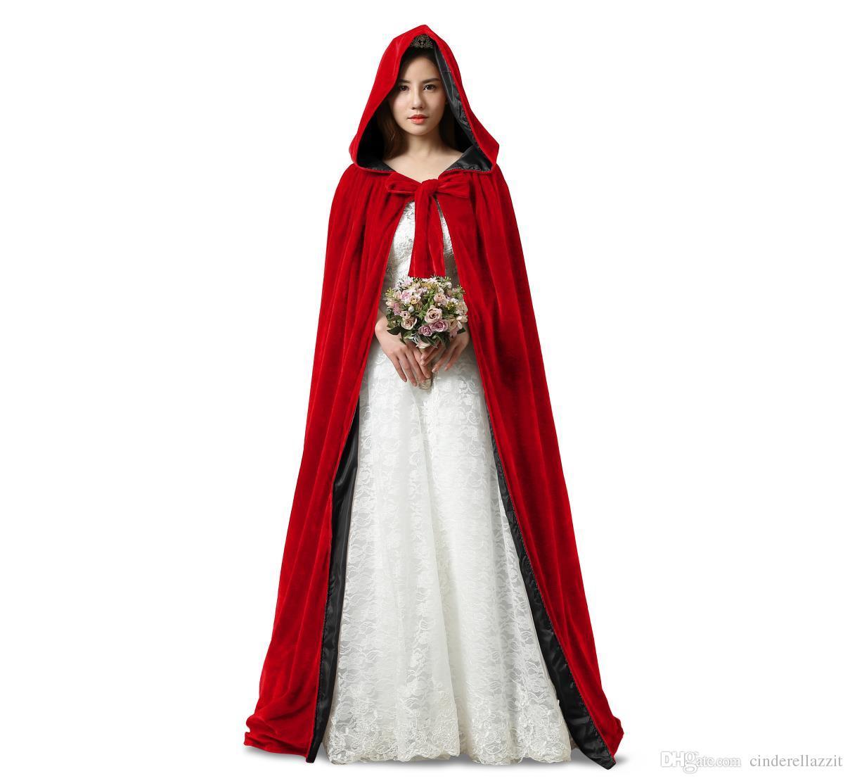Acquista Nuovo Rosso E i Fodera Mantello Di Velluto Vampiro Gotico Wicca  Robe Caldo Outdoor Mantella Mantella Medievale Mantello Le Donne Giacca Da  Sposa ... 97fb8c352793