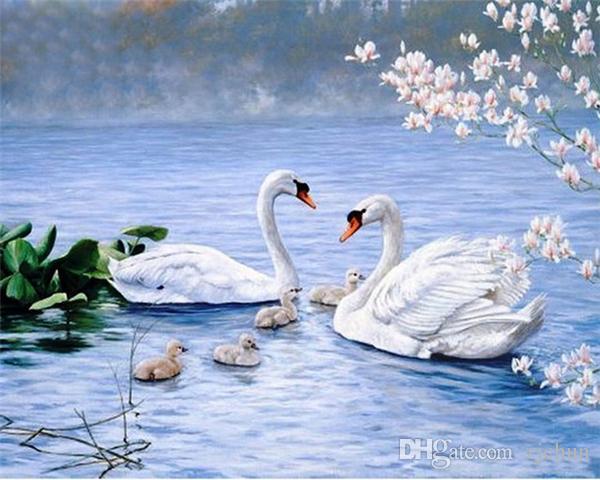 Diy diamond painting cross stitch kit rhinestone full round diamond embroidery animal swan in lake home mosaic decoration yx4304