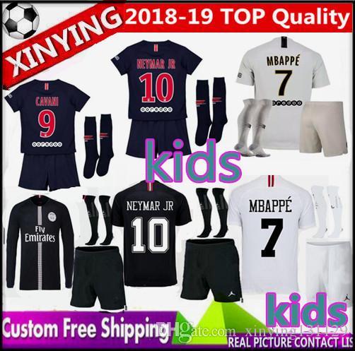 brand new e544a 85992 Champions League kids psg jersey kits 2018 2019 MBAPPE Paris soccer jerseys  18 19 CAVANI VERRATTI Short Long sleeve BOYS football Set shirt