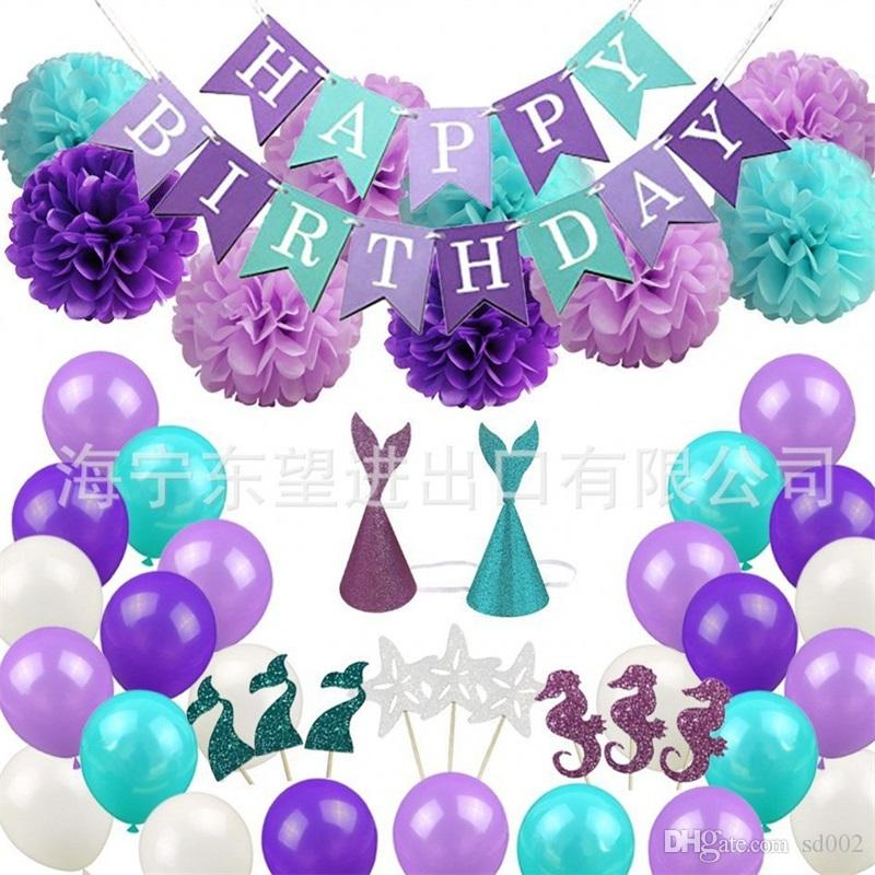 Mermaid Theme Flags Party Decorate Set Balloon For Cartoon Birthday Kid Hat Purple Flower Banner Baby Shower 41hn Aa