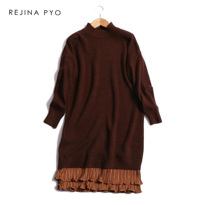 15dcb23dac9e0 REJINAPYO Women Romantic Sweet Solid Loose Knit Straight Mini Dress ...