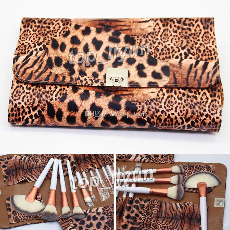 2018 Leopard bag 브러쉬 메이크업 24 개입 로즈 골드 브러쉬 키트 페이스 파우더 파운데이션 브러쉬 세트 화장품 블러쉬 브러쉬 아이 섀도우 브러쉬