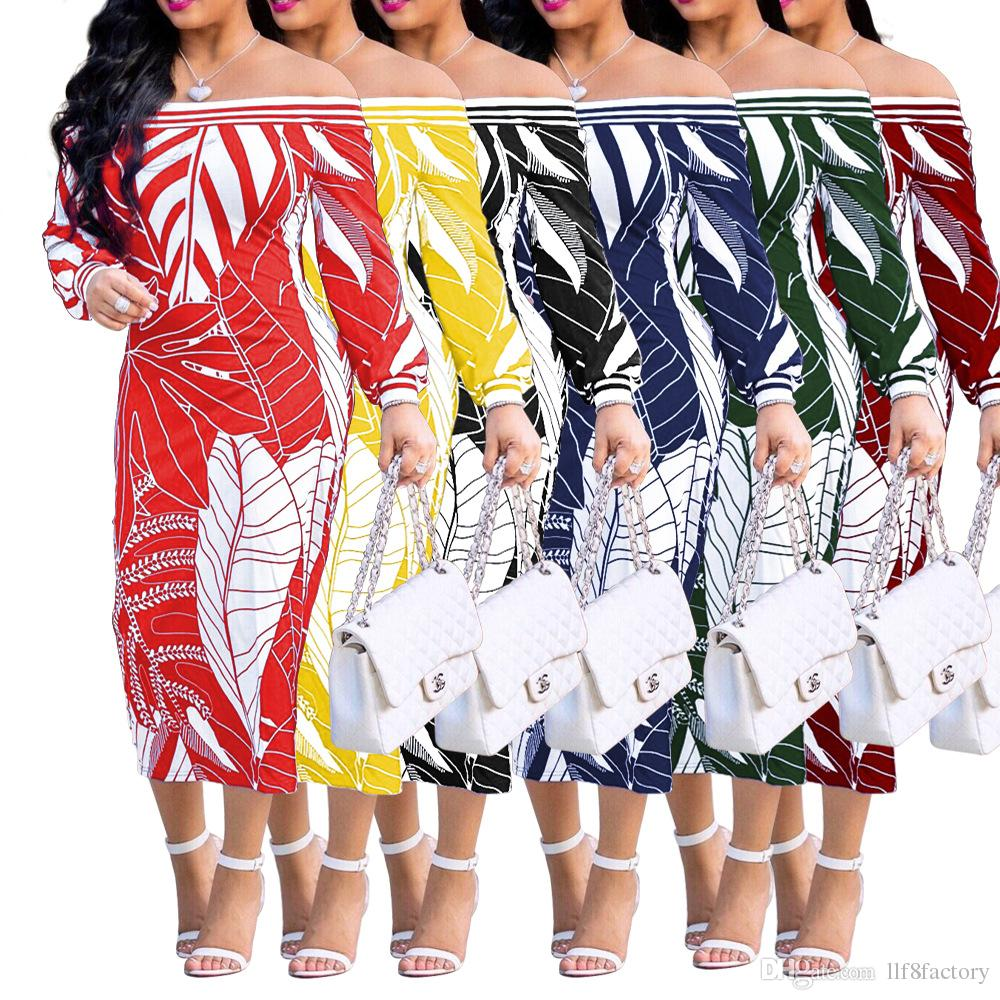 Europe and the United States sexy word shoulder women's fashion long-sleeved printed dress skirt wrapped chest dress