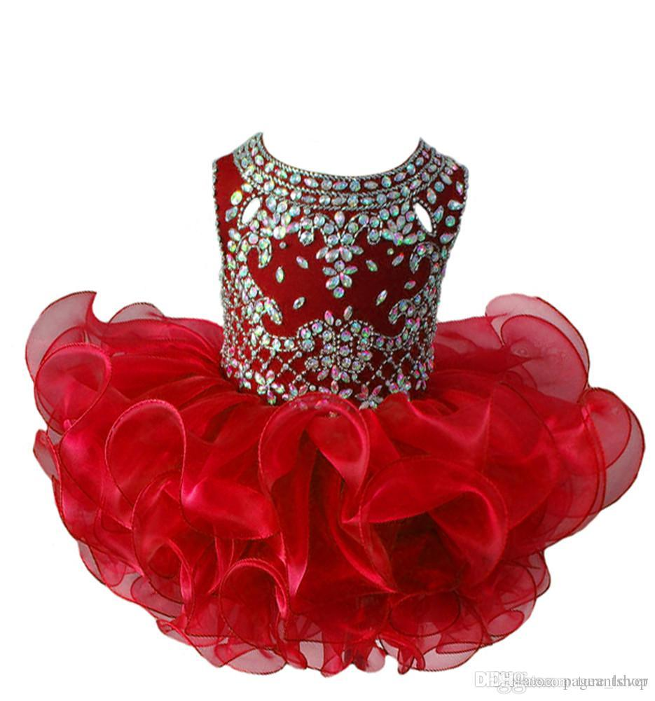 vestidos del desfile de las muchachas 2018 Diamante Azul Real Glitz Niñas Cupcake Vestidos Infantil Tutu Gowns Niñas Bebé Volantes Mini vestido del desfile