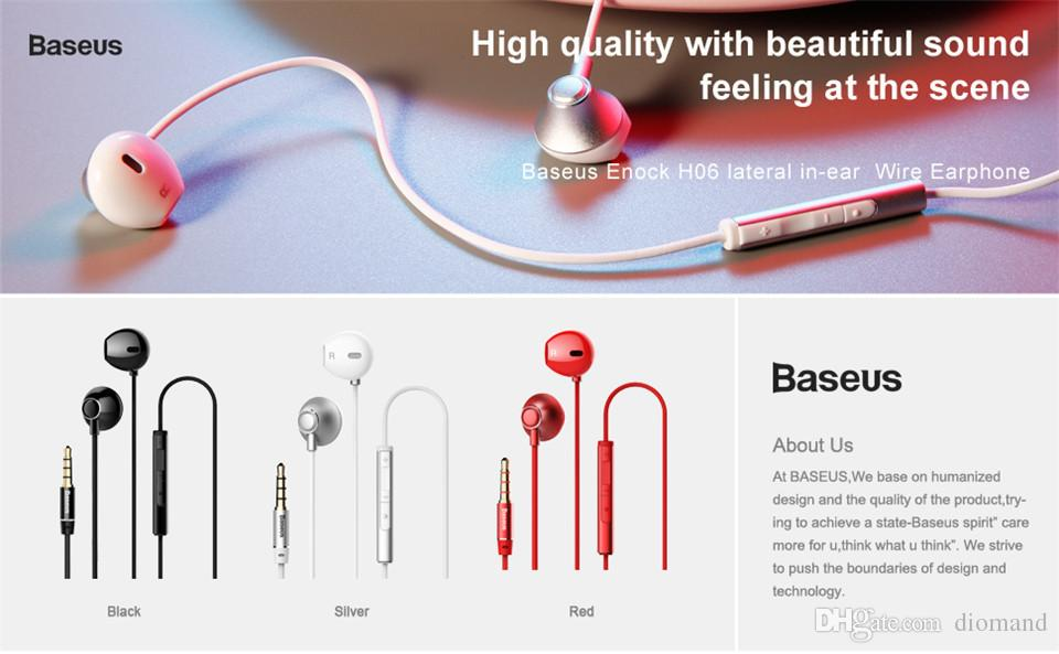 baseus enock h06 lateral in ear wire earphone black, red,silver  earphone  for phone stereo sound headset in ear earphone wireless earphones wireless