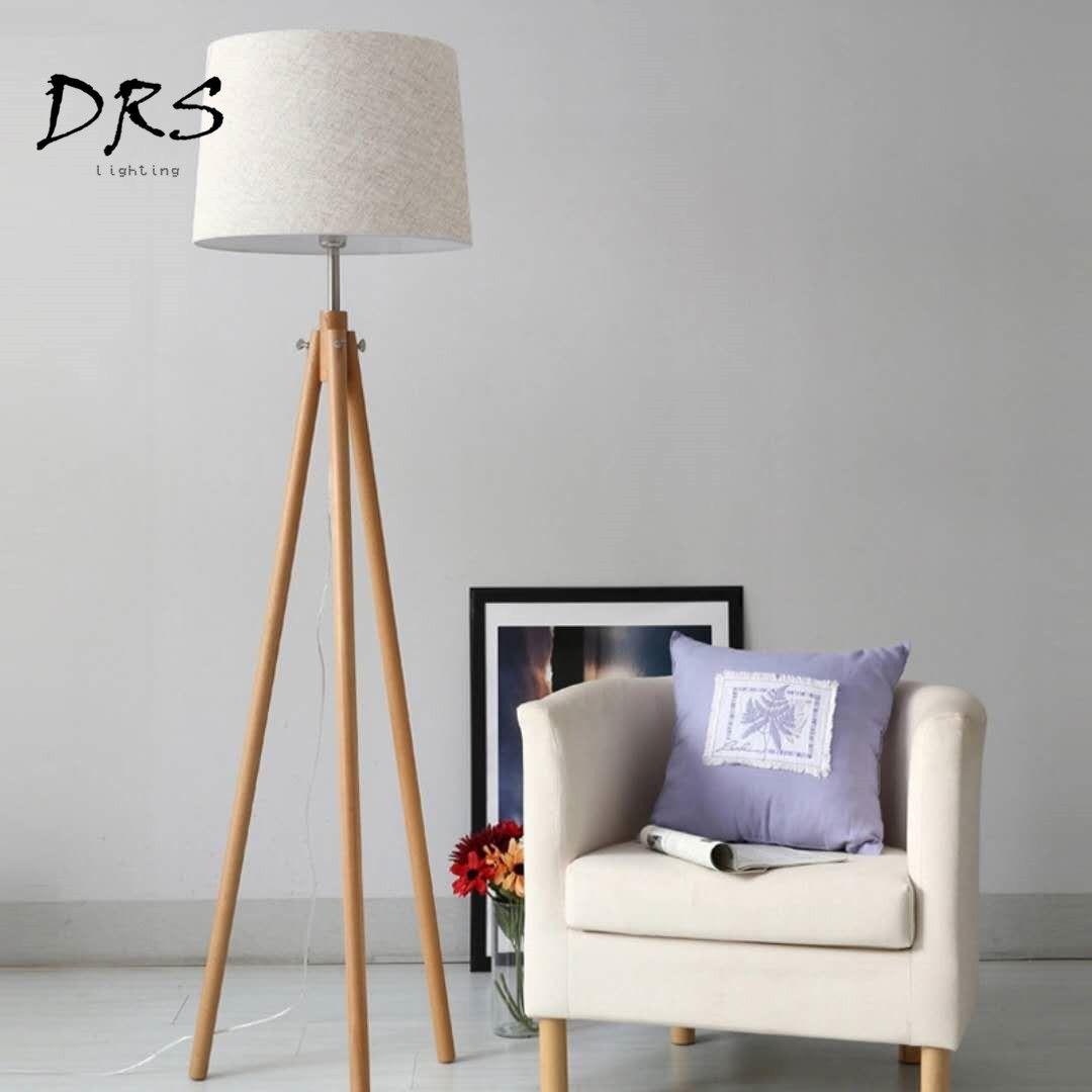 2019 modern nordic wooden floor lamps wood fabric lampshade tripod floor lamps for living room bedroom indoor home lighting fixture from zhoukoulight