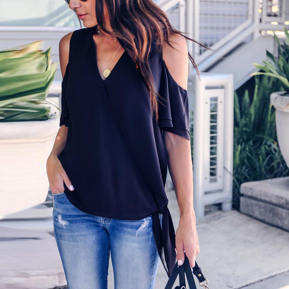 895b17e38913 Frauen Blusen Korean Style Solid Kurzarm Lässige V-Ausschnitt Schulterfrei  Bluse Blusas Mujer De Moda 2019 Verano
