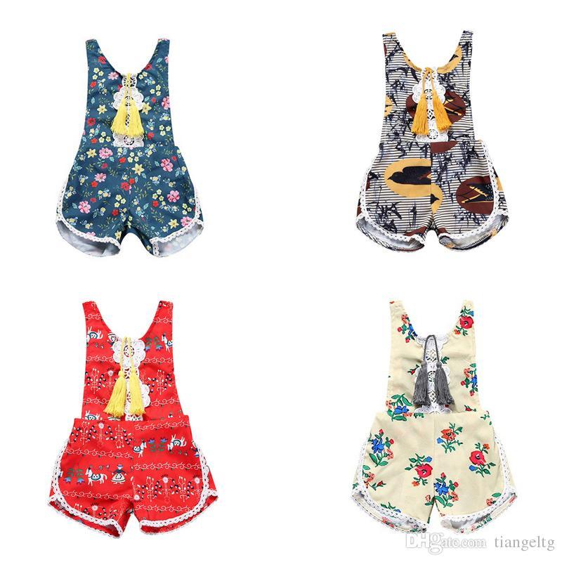 f59c716b8 2019 Baby Girls Tassels Rompers Lace Flower Bird Horse Printed Vest ...