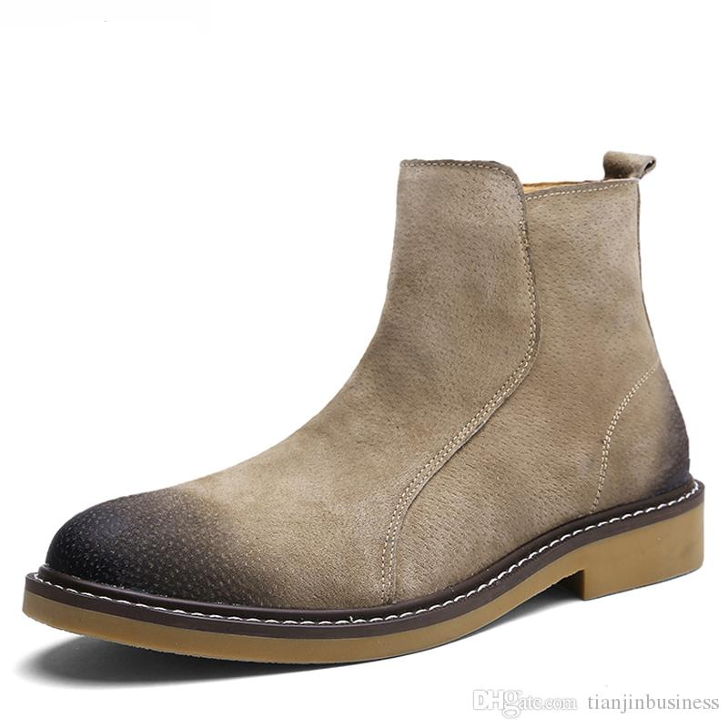 bdbd64f1888b 2018 New Style Vintage Men Men S Chelsea Boots Leather Khaki Grey Black  Shoes Ankle Boot For Male Mens Dress Boots Green Boots From  Tianjinbusiness