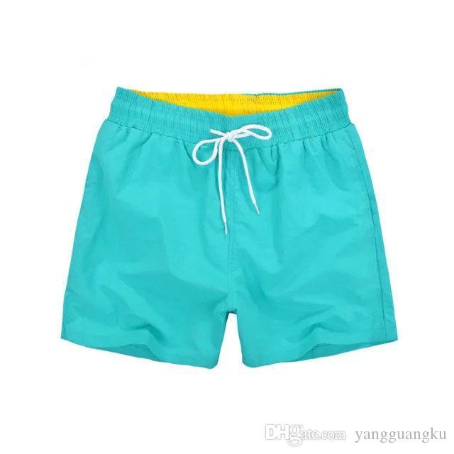 0dd0a795ae Compre 2018 Atacado Casual Mid Algodão Poliéster New Hot Qualidade Shorts  Marca Homens Para Esportes De Praia De Surf Curto Azul Verde Vermelho Homens  ...