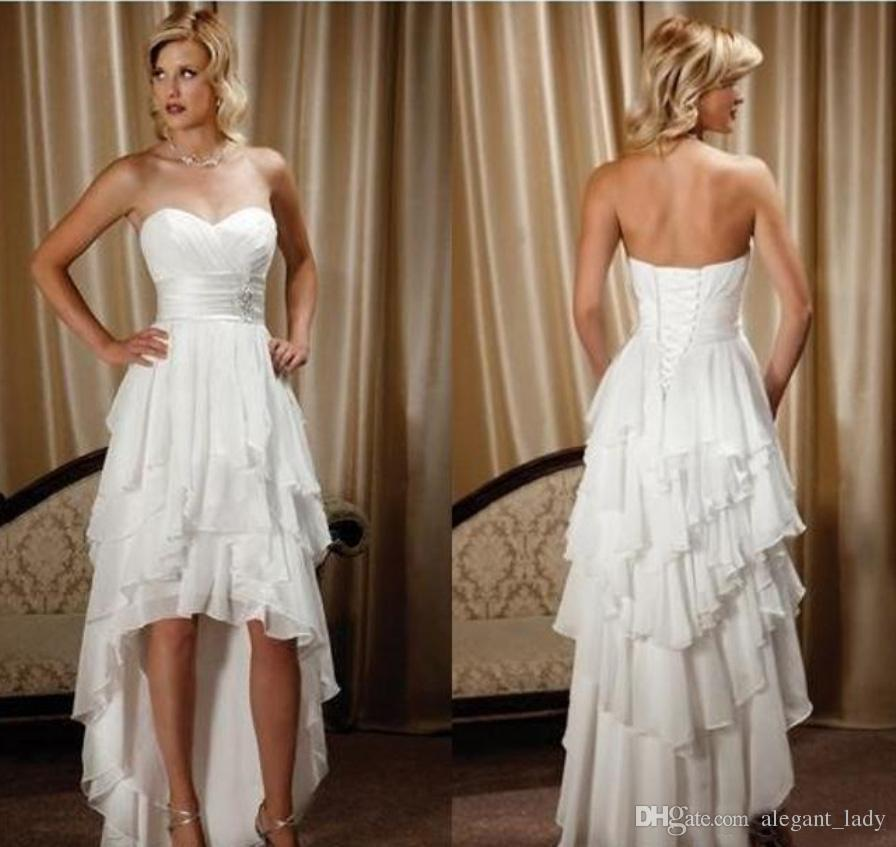 Short Front Long Back Wedding Dresses Simple Design Sweetheart Chiffon High Low Country Western cowgirl Hi-lo Bridal Gowns Dress