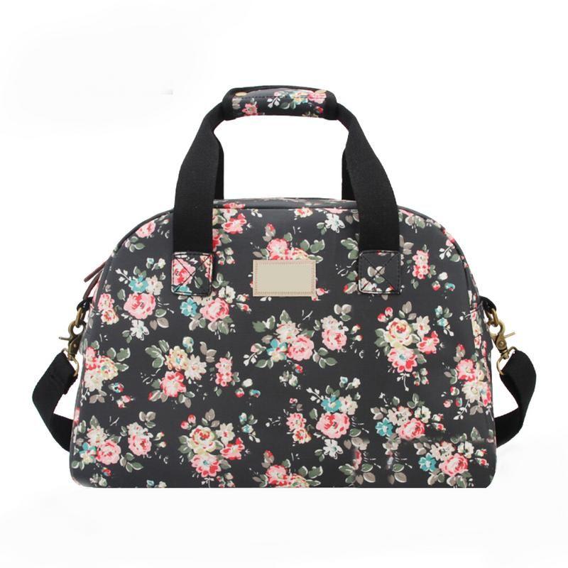 8553f50b4ade Floral Waterproof PVC Nylon Travel Duffle Tote Bag Portable Messenger  Travelling Bags Luggage Women Organizer Suit Packing Bag