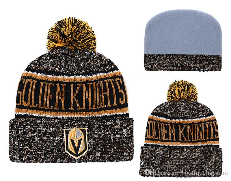 d48590d581947 New Arrival Vegas Golden Hockey Knitted Beanies High Quality Cheap Knight  Winter Warm Skull Hats Ice Hockey Pom Embroidery Cuff Beanie Caps Mens Hats  Straw ...