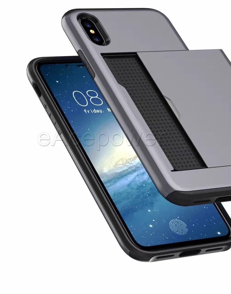 Hybrid 2 en 1 Slide Slot Case Dual Protector a prueba de golpes Caes Cover para Samsung S4 S5 S6 S7 Edge S8 Plus