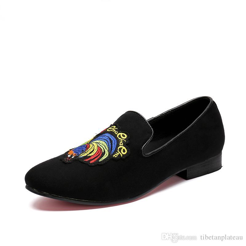 97d873a14e674 De De Hombres Pisos Bordado Negras Hombres Vestir Nuevos Compre Para  Mocasines Mocasines Zapatillas Zapatos Y ...