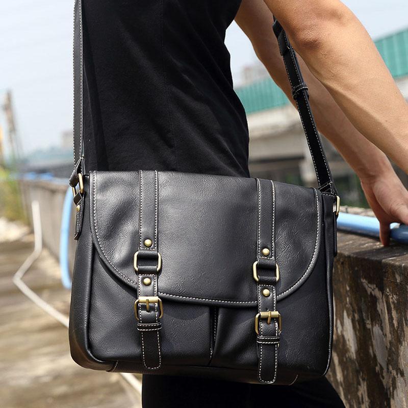 Mode Herren Umhängetasche PU-Leder Männer Tasche Casual Business Leder Herren Messenger Big Male Bag Handtasche Aktentasche