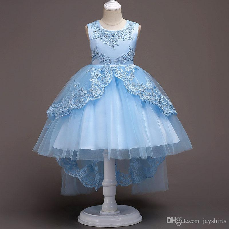 Princess Ball Gown Asymmetrical TUTU Dresses For Girls Hand-Made Beaded Dress White Lace Dress For Girl