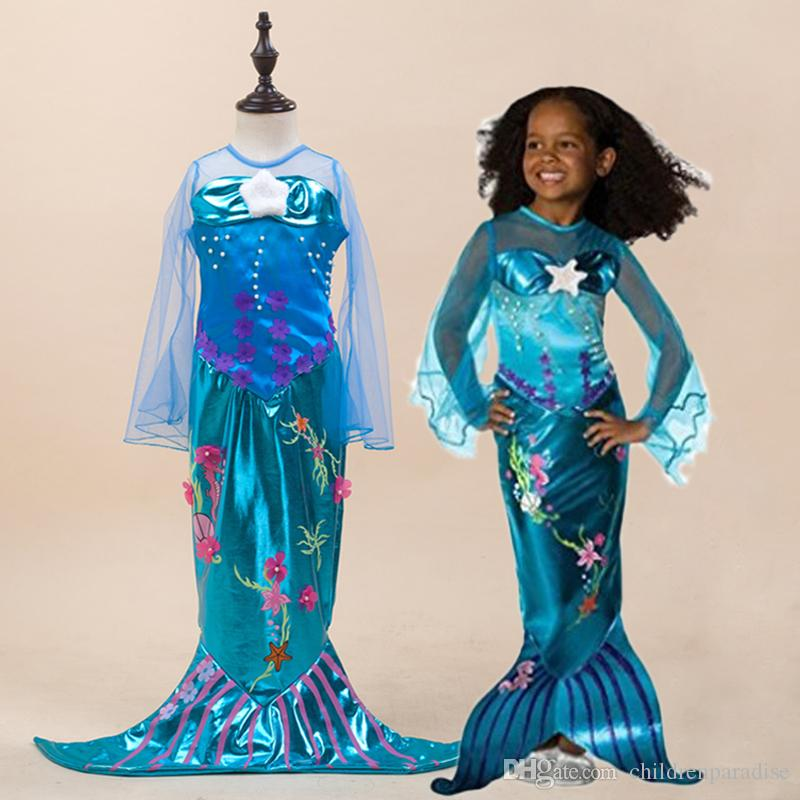 Girl Dress 2018 O-Neck Mermaid Dresses With Pearl Children Halloween Cosplay Costumes Princess Party Dress For Girl