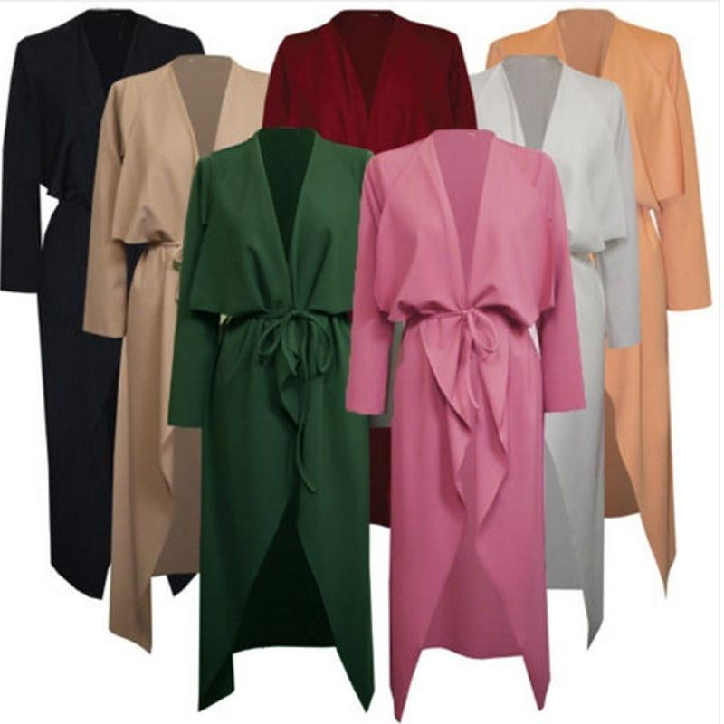 ac94b74b8df0 2019 Plus Size Fashion Women Italian Long Duster Coat Ladies French Belted  Trench Waterfall Jacket From Thefamee
