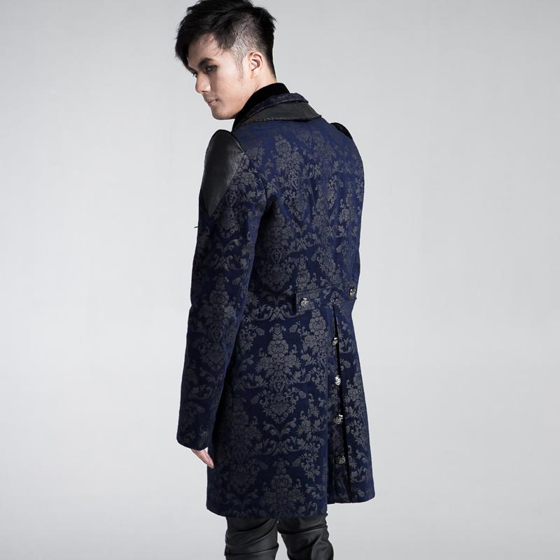 Punk Rave Mens Militaire Trench Gothique Noir Bleu Coton Streampunk Long Manteau Veste Y448 M-XXXL