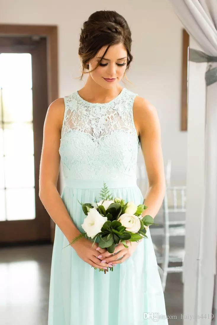 Mint Green Lace Country Bridesmaids Dresses 2018 Long Jewel Neck Lace Top Chiffon Wedding Guest Dress Floor Length Cheap Maid Of Honor Gowns