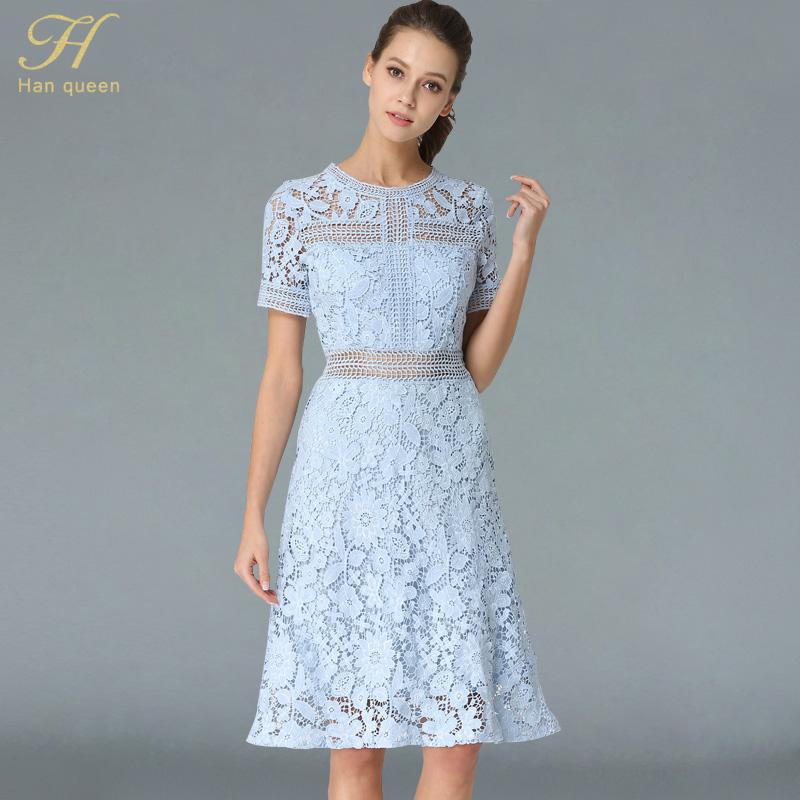 f1e7ddbe47f62 H han queen 2018 Summer Dresses Women's Fashion Slim Sexy Vestido European  Blue Short sleeve Casual Office Party Lace Dress