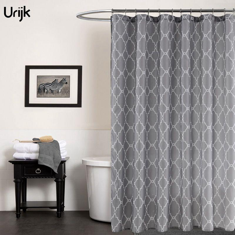 2018 Urijk High Quality Shower Curtains Bathroom Curtain Diamond Plaid Print Waterproof Mildewproof Bath Bathtub Fabric From Baibuju8