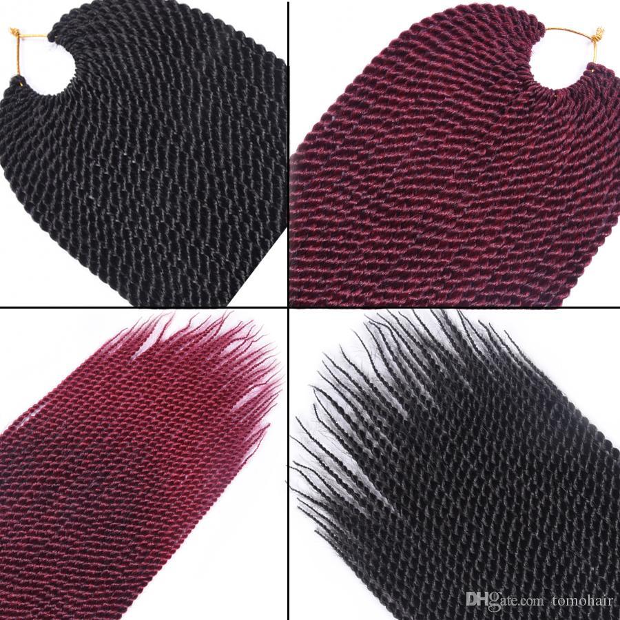 TOMO 30 Strands / paketi Senegalese Büküm Tığ Örgüler Siyah Kahverengi Bordo Mor Saf / Ombre Renk Örgü Saç Tığ Örgü Saç Uzantıları