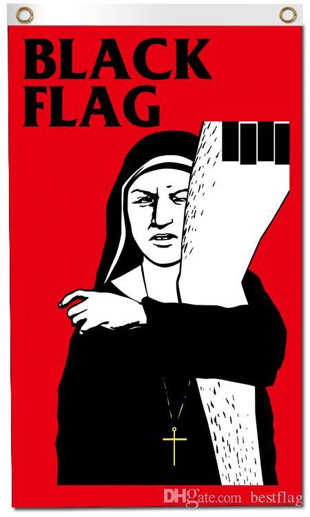 Impressão digital personalizado 3x5ft Black Flag Poster 90x150 cm Poliéster Americano Punk Rock Band Music Wall Hanging Banner