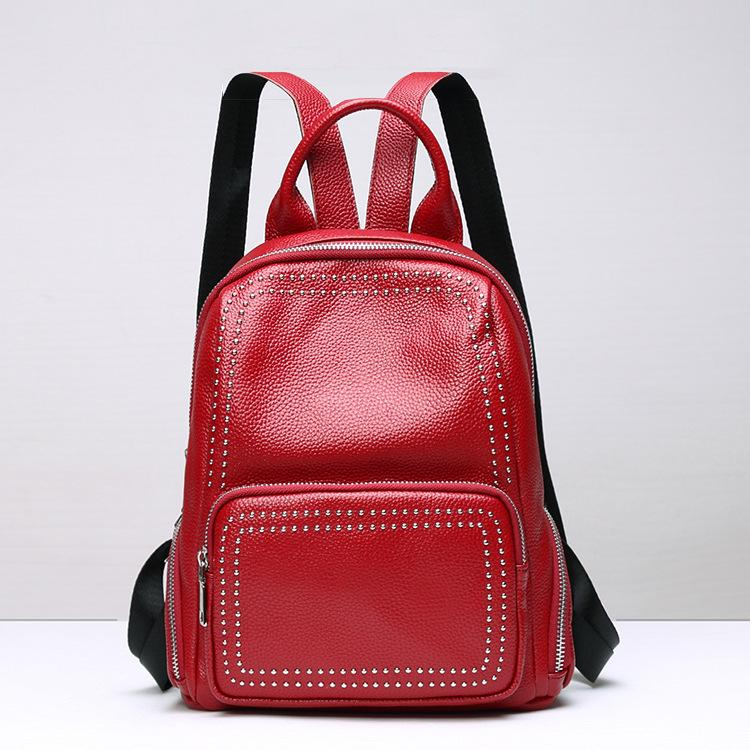 8fcf04eed1ea Fashion Rivet Women Backpack Genuine Leather Brand Designer Women ...
