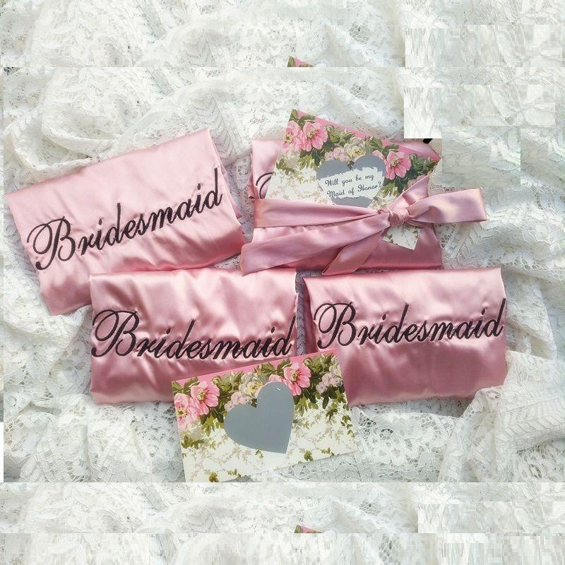 Embroidery Logo Wedding Hen Bachelorette Party Gifts Silk Satin