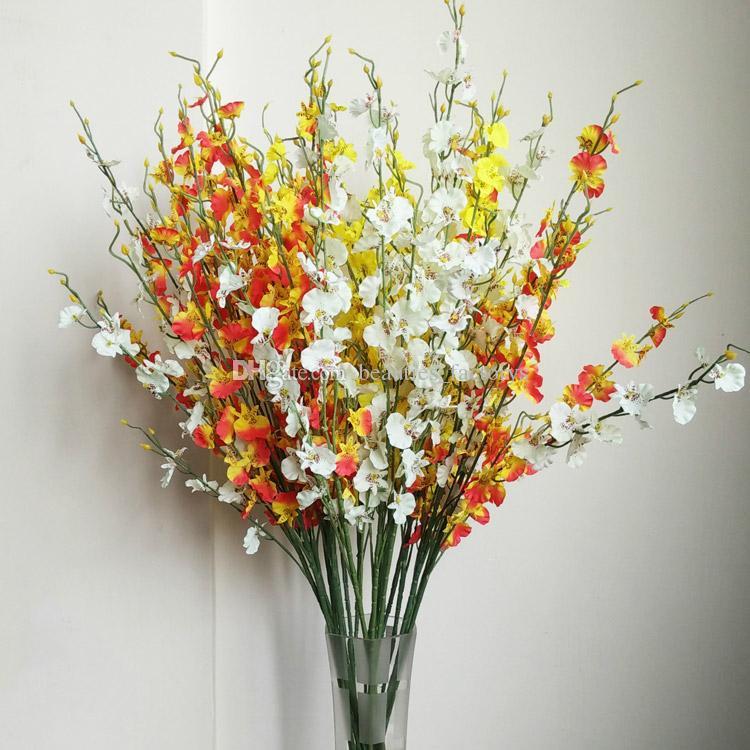 Fiori di seta Ballando Lady Orchid 5 rami di alta qualità fiori artificiali decorazioni la casa la festa di nozze Hotel Office Decor 95 centimetri