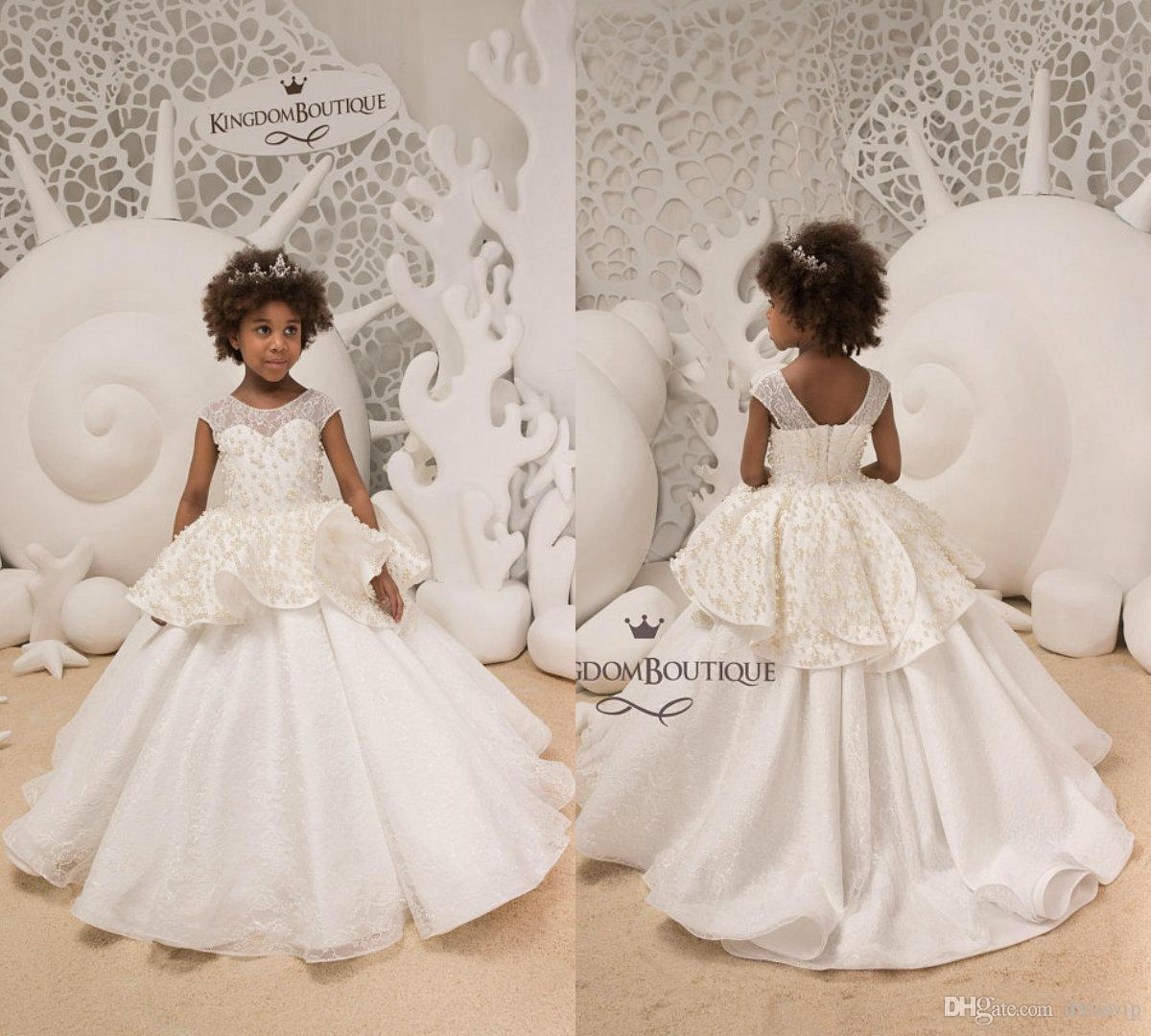 f9b73603dab Ivory Lace Flower Girl Dresses For Weddings Tiered Tulle Applique Pearls  Jewel Neck Sleeveless Girls Pageant Dress First Communion Gowns My Girl  Dress Navy ...