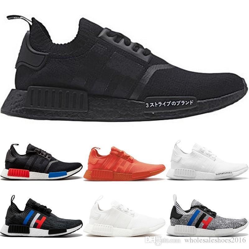 4778092fb04 2018 Mens Designer R1 Running Shoes OG Japan Triple Black White Oreo ...