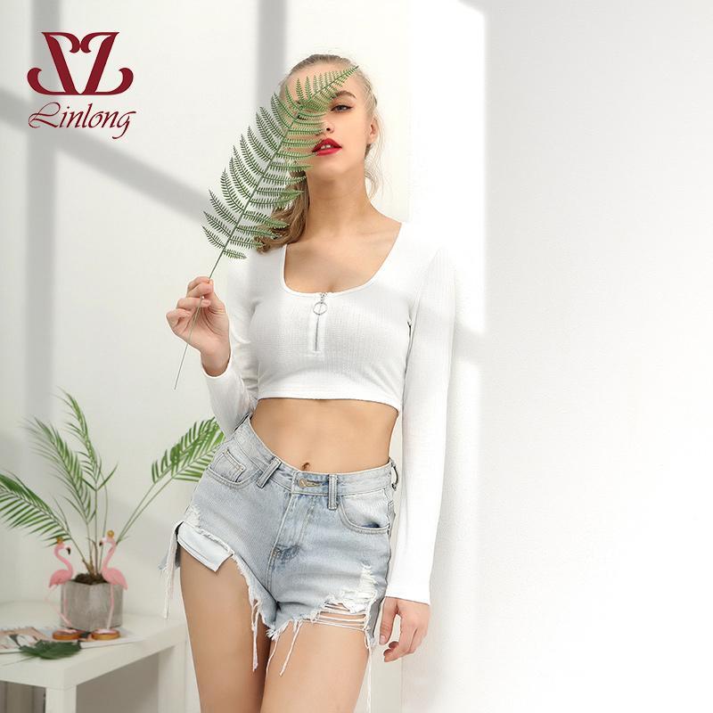 d0b9c39d28d Summer Sexy Vogue Long Sleeve Crop Top Korean Style Elewhite Short T Shirts  Streetwear Bustier Top Cropped For Women B016 T Shirt Shopping Online T  Shirt ...